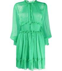 msgm smock-waist crinkle-chiffon mini dress - green