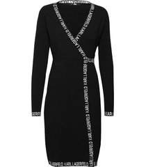 logo tape wrap knit dress knälång klänning svart karl lagerfeld