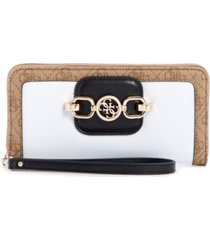 guess hensely large logo zip around wallet wristlet