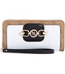 guess hensely large logo zip around wallet wristlet