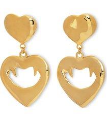 gold-tone vampire heart earrings
