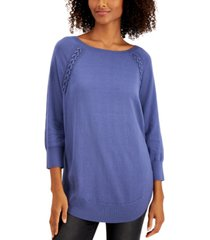 style & co braided lace-up tunic sweater, created for macy's