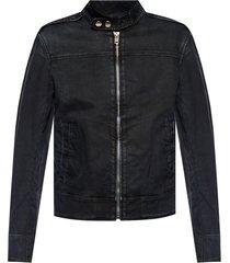 denim jacket with band collar