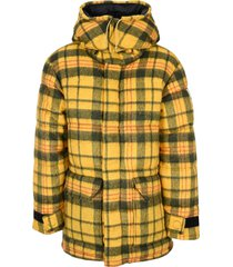 north face brown padded check down jacket