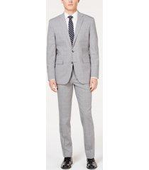 kenneth cole new york men's slim-fit travel ready performance light gray windowpane suit