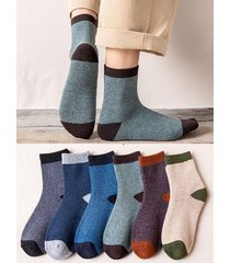 6 pairs colorblock winter quarter socks set