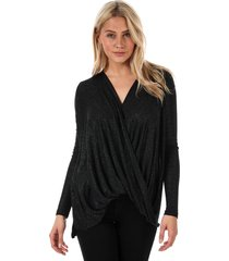 vero moda womens mandy long sleeve glitter wrap top size 12 in black