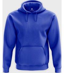 męska bluza z kapturem (bez nadruku, gładka) - niebieska