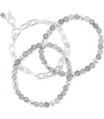 lucky brand silver-tone 3-pc. set link & jade beaded bracelets