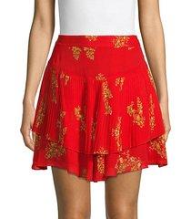 floral pleated mini skirt