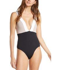 women's tavik luna colorblock plunge one-piece swimsuit, size x-small - black