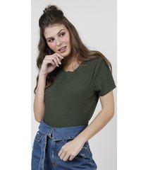 blusa feminina ampla canelada manga curta decote redondo verde militar