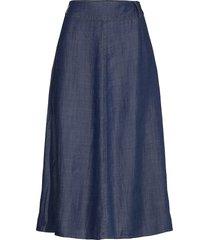 dhmaria skirt knälång kjol blå denim hunter