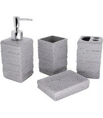 conjunto de acessórios para banheiro pedra 4 peças