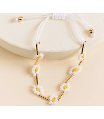 women's jamie seedbead yellow daisy bracelet in yellow by francesca's - size: one size