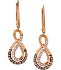 le vian chocolatier diamond drop infinity earrings (1/2 ct. t.w.) in 14k rose gold