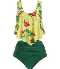 flamingo flounce high waisted ruched tankini swimwear