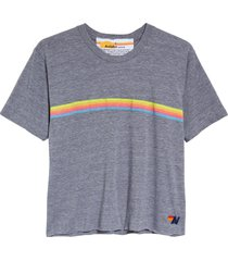aviator nation rainbow tee, size large in heather/neon rainbow at nordstrom