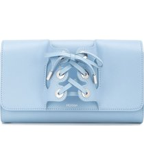perrin paris lace-up detail clutch bag - blue
