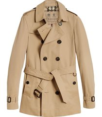 burberry the chelsea short trench coat - brown