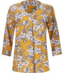 blusa 3/4 flores blancas color amarillo, talla m
