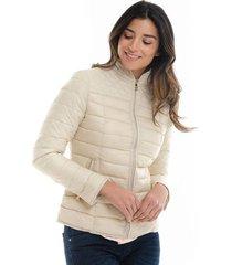 chaqueta beige básica cuello alto para mujer fdspv20j0215