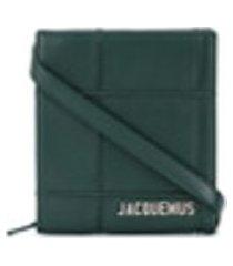 jacquemus bolsa tiracolo com logo e padronagem xadrez - verde