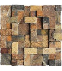 mosaico em pedra natural quadro diverse ferro small 30x30cm