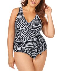 raisins curve trendy plus size mombasa printed algiers belted one-piece swimsuit women's swimsuit