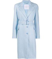ermanno scervino long belted coat - blue