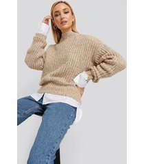 na-kd multi color wide rib knitted sweater - beige