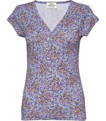 1x1 happy flower trappy button t-shirts & tops short-sleeved blå mads nørgaard