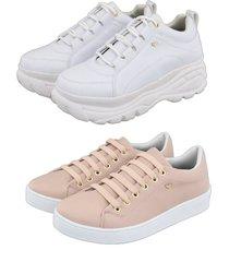 kit 2 tênis feminino retta chunky branco sapatenis rosa - kanui