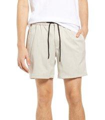 men's topman drawstring waist stripe shorts, size 38 - beige