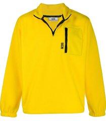 gcds half zip fleece sweatshirt - yellow