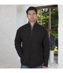 mens lined shetland zipper cardigan charcoal large