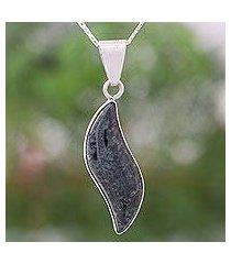 dark green jade pendant necklace, 'floating in the breeze' (guatemala)