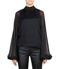 sheer sleeve silk blouse