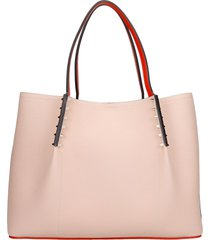 christian louboutin cabarock tote in rose-pink leather