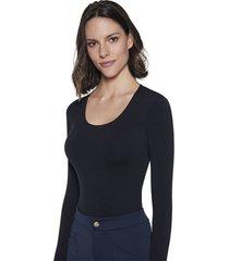 blusa lupo sem costura preta - preto - feminino - poliamida - dafiti