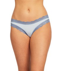 women's fleur't iconic thong, size small - blue