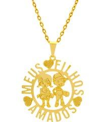 gargantilha horus import meus filhos amados 2 banhada ouro amarelo 18 k 1060182 - dourado - feminino - dafiti
