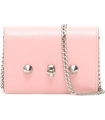 alexander mcqueen card holder with skull and chain