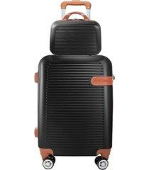 mala de rodinha pequena com frasqueira abs 360 bordo jacki design 19800 preta - preto - feminino - dafiti