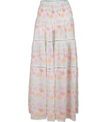 salina butterfly print shirred waist maxi skirt
