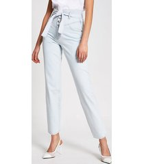 river island womens light blue high rise belted tapered jeans