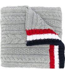thom browne light grey fine merino pocket scarf