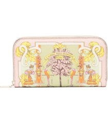 etro ornamental decorative leather wallet - pink