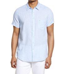 vintage summer short sleeve slub button-up shirt, size medium in light blue at nordstrom