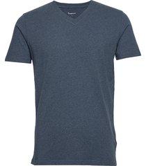alder basic v-neck tee - gots/vegan t-shirts short-sleeved blå knowledge cotton apparel